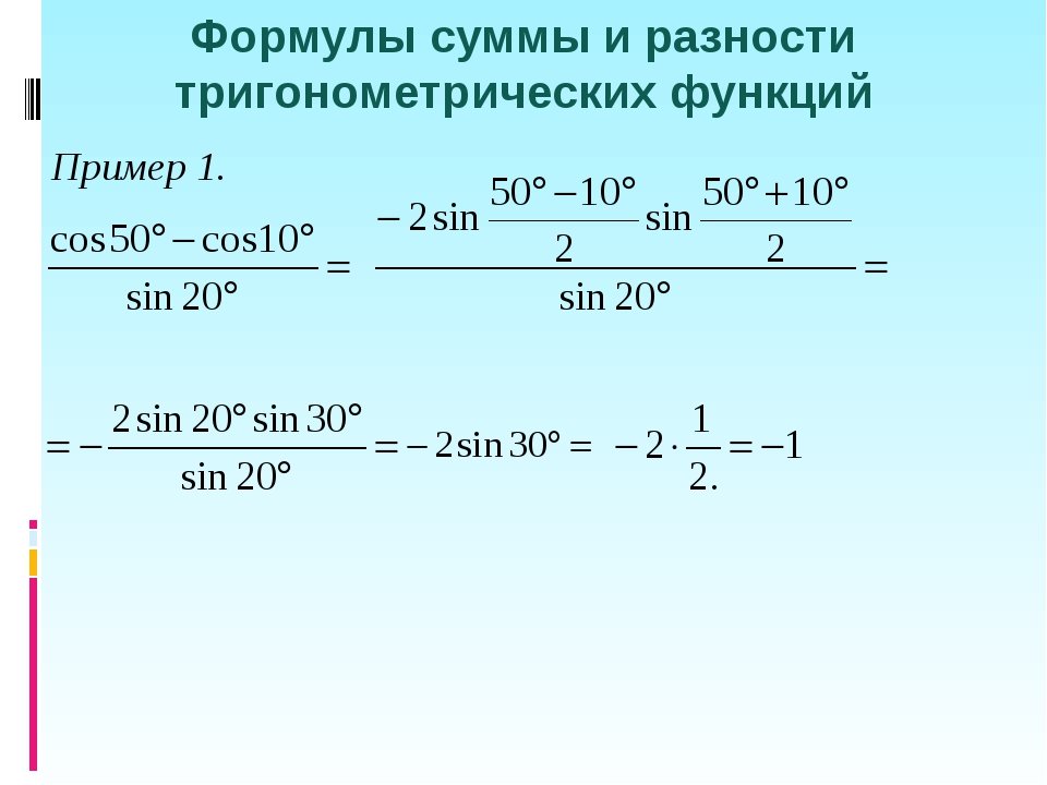 Формулы суммы и разности тригонометрических функций Пример 1.