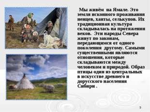 * Мы живём на Ямале. Это земля исконного проживания ненцев, ханты, селькупов.