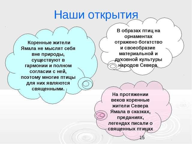 Наши открытия Коренные жители Ямала не мыслят себя вне природы, существуют в...
