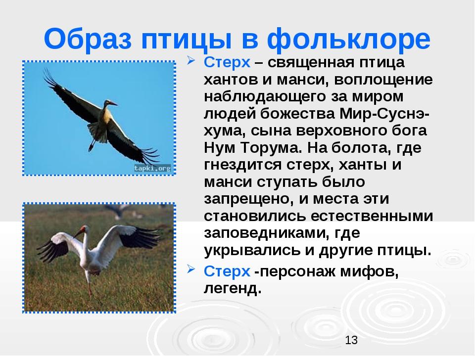 Образ птицы в фольклоре Стерх – священная птица хантов и манси, воплощение на...
