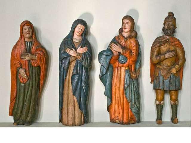 Фрагменты распятия. Богородица, Мария Магдалина, Иоанн Богослов, Сотник Лонгин