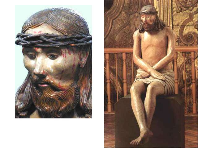 Христос в темнице, ХVIII в. 120x42x55 Дерево (сосна), левкас, темпера. Кругла...