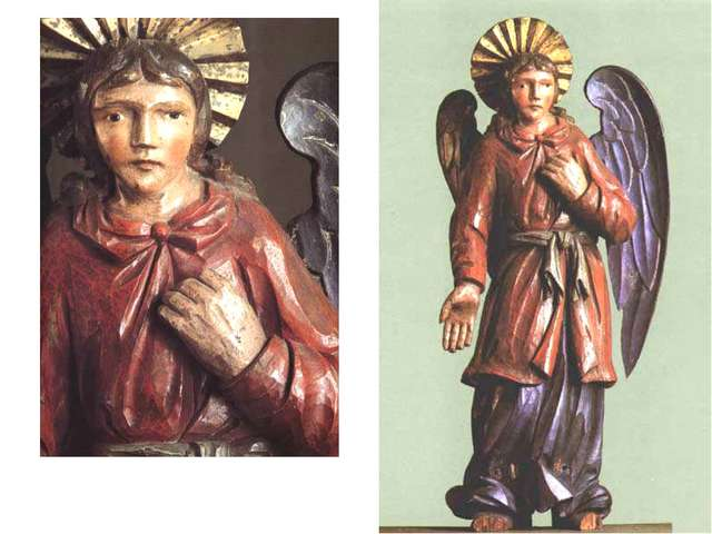 Ангел, ХVIII в. Дерево (сосна), левкас, темпера, позолота.