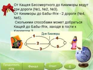 От Кащея Бессмертного до Кикиморы ведут три дороги (№1, №2, №3). От Кикиморы