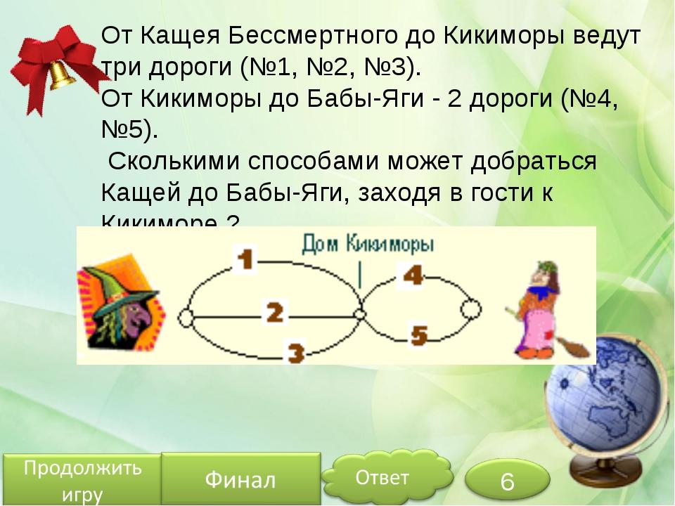 От Кащея Бессмертного до Кикиморы ведут три дороги (№1, №2, №3). От Кикиморы...