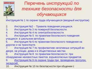 Перечень инструкций по технике безопасности для обучающихся 1. Инстру
