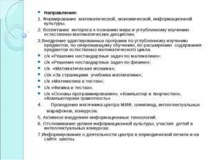 Направления: 1. Формирование математической, экономической, информационной ку