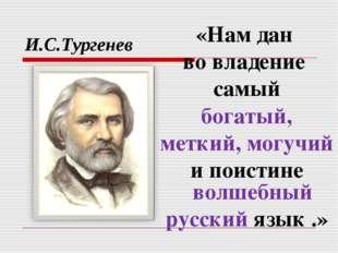 И.С.Тургенев «Нам дан во владение самый богатый, меткий, могучий и поистине в