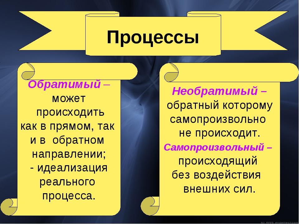 Процессы Необратимый – обратный которому самопроизвольно не происходит. Самоп...