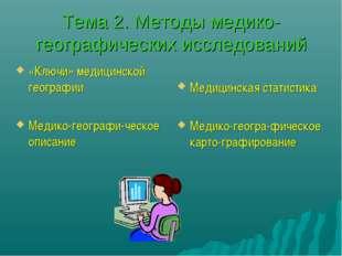 Тема 2. Методы медико-географических исследований «Ключи» медицинской географ