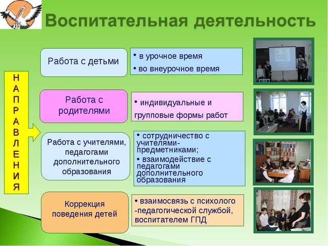 НАПРАВЛЕНИЯ Работа с детьми Работа с родителями Работа с учителями, педагогам...