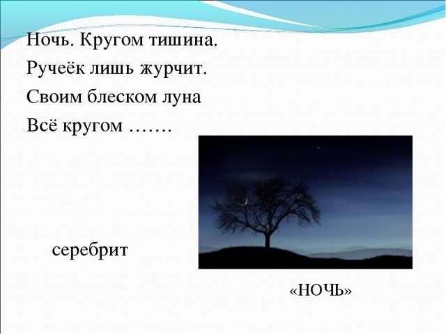 Ночь. Кругом тишина. Ручеёк лишь журчит. Своим блеском луна Всё кругом ……. се...