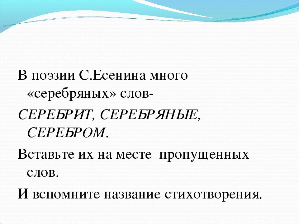 В поэзии С.Есенина много «серебряных» слов- СЕРЕБРИТ, СЕРЕБРЯНЫЕ, СЕРЕБРОМ. В...