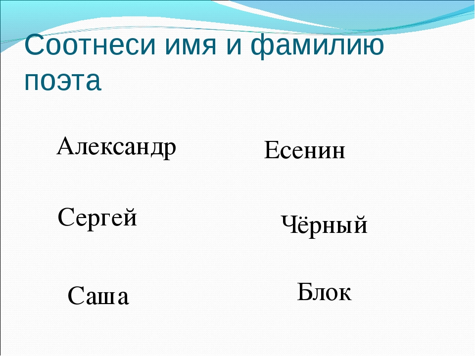Соотнеси имя и фамилию поэта Александр Сергей Саша Есенин Чёрный Блок