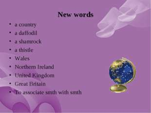 New words a country a daffodil a shamrock a thistle Wales Northern Ireland Un