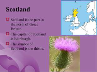Scotland Scotland is the part in the north of Great Britain. The capital of S