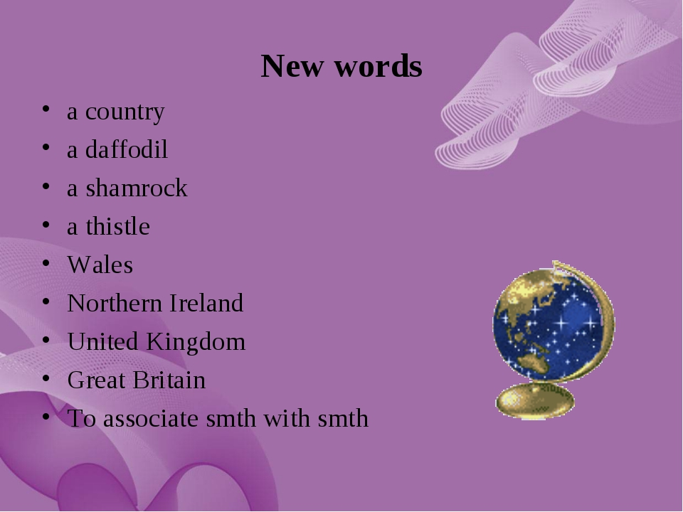 New words a country a daffodil a shamrock a thistle Wales Northern Ireland Un...