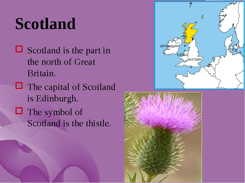 Scotland Scotland is the part in the north of Great Britain. The capital of S...
