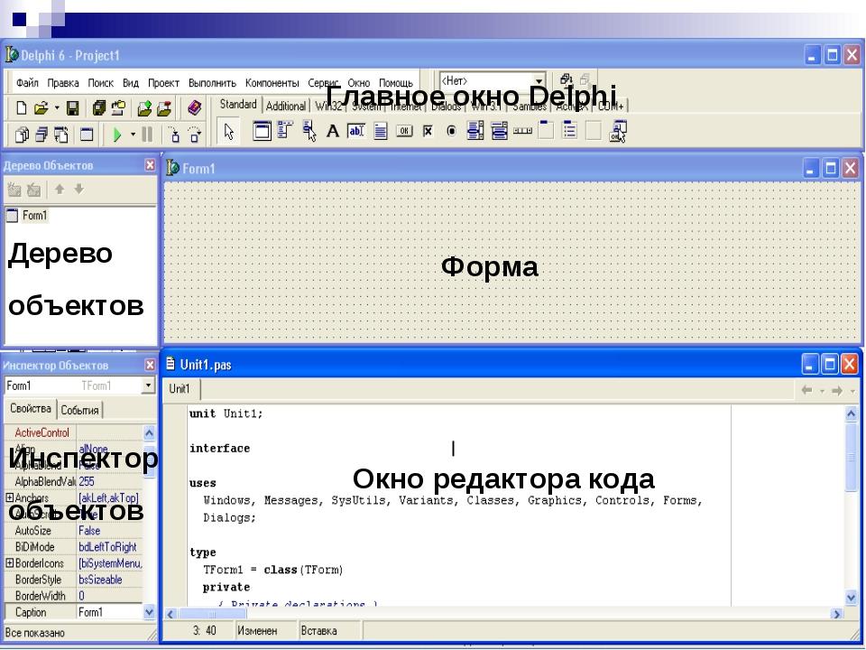 Форма Окно редактора кода Инспектор объектов Дерево объектов Главное окно Del...