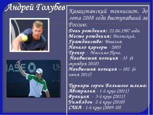 Казахстанский теннисист, до лета 2008 года выступавший за Россию. День рожден