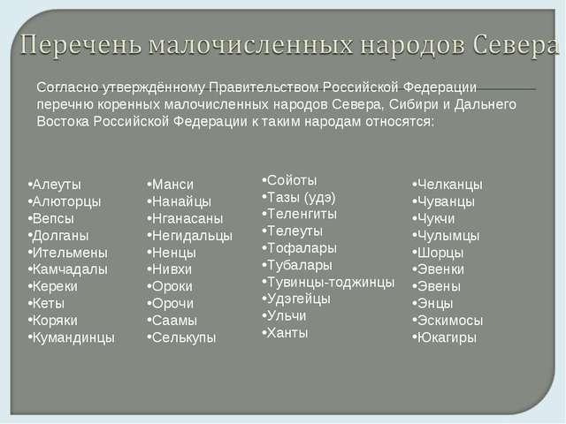 Согласно утверждённому Правительством Российской Федерации перечню коренных м...