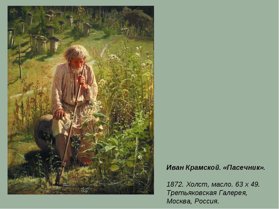 Иван Крамской. «Пасечник». 1872. Холст, масло. 63 x 49. Третьяковская Галерея...