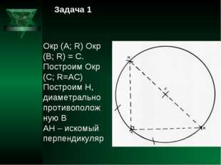 Задача 1 Окр (А; R) Окр (В; R) = С. Построим Окр (С; R=АС) Построим Н, диамет