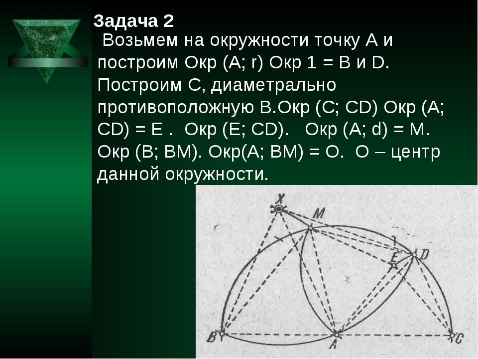 Задача 2 Возьмем на окружности точку А и построим Окр (А; r) Окр 1 = В и D. П...