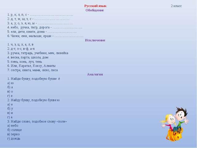 Русский язык 2 класс Обобщение 1.р, к, л, п, с - ………………………………. 2. д, т...