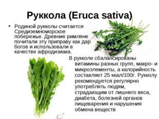 Руккола (Eruca sativa) Родиной рукколы считается Средиземноморское побережье.
