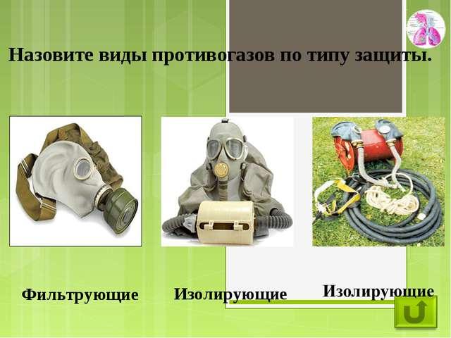 Назовите виды противогазов по типу защиты. Фильтрующие Изолирующие