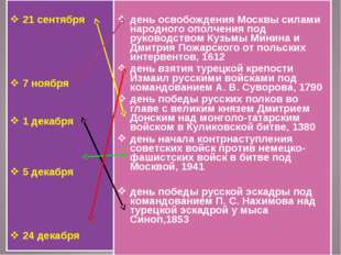 21 сентября 7 ноября 1 декабря 5 декабря 24 декабря день освобождения Москвы