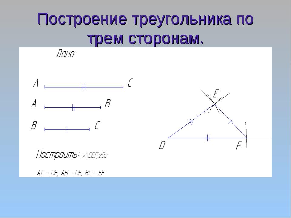 Построение треугольника по трем сторонам.