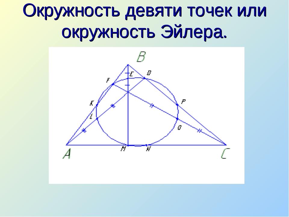 Окружность девяти точек или окружность Эйлера.