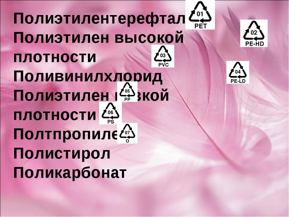 Полиэтилентерефталат Полиэтилен высокой плотности Поливинилхлорид Полиэтилен...