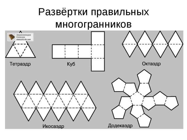 Урок презентация по теме Элементы симметрии правильных многогранников Развёртки правильных многогранников