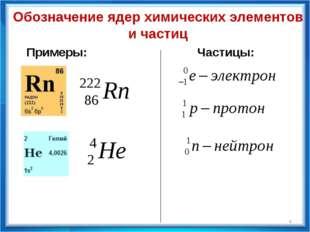 Обозначение ядер химических элементов и частиц Примеры: Частицы: *