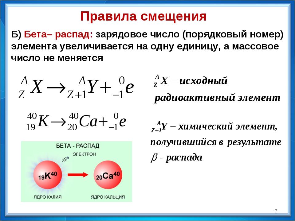 Правила смещения Б) Бета– распад: зарядовое число (порядковый номер) элемент...