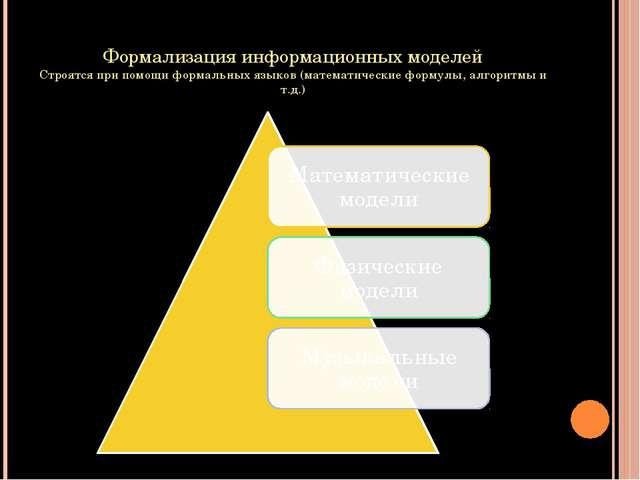 Формализация информационных моделей Строятся при помощи формальных языков (ма...