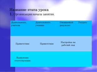 Название этапа урока 1. Организация начала занятия. Деятельность учителяДеят