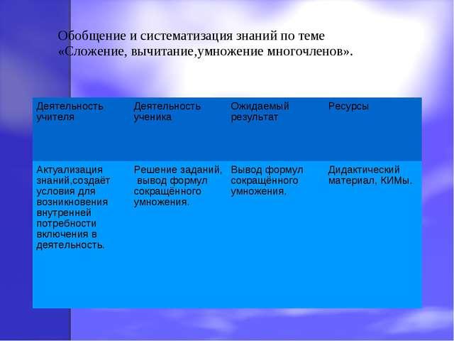 Обобщение и систематизация знаний по теме «Сложение, вычитание,умножение мног...
