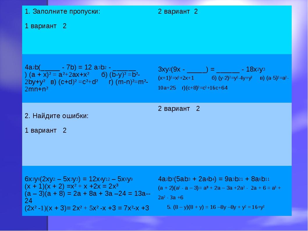 1. Заполните пропуски: 1 вариант 22 вариант 2 4a2b(_____ - 7b) = 12 a3b2 - _...