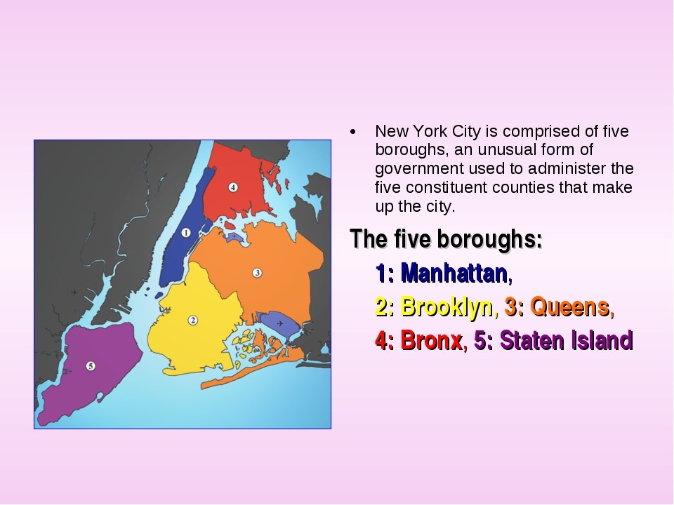 New York City is comprised of five boroughs, an unusual form of government us...