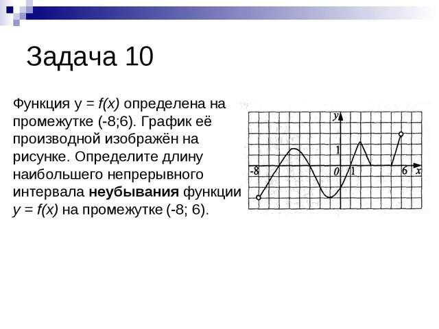 Задача 10 Функция у = f(x) определена на промежутке (-8;6). График её произво...