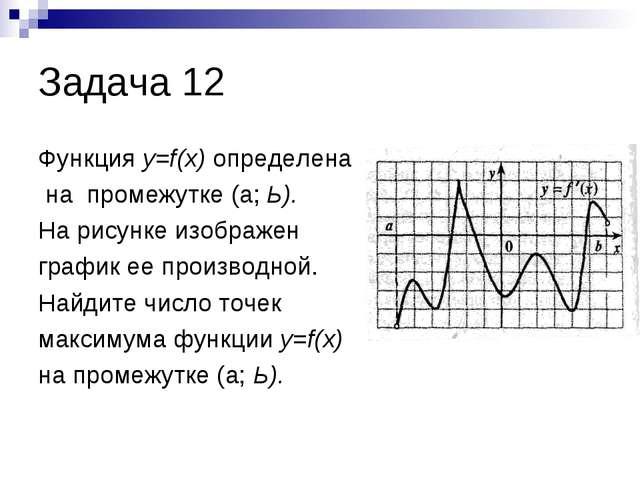Задача 12 Функция y=f(x) определена на промежутке (а; Ь). На рисунке изображе...