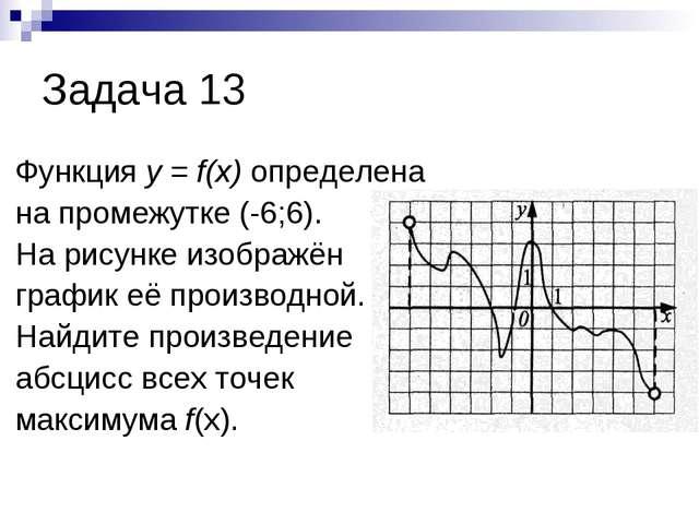 Задача 13 Функция у = f(x) определена на промежутке (-6;6). На рисунке изобра...