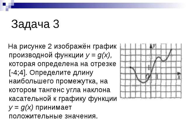 Задача 3 На рисунке 2 изображён график производной функции у = g(х), которая...
