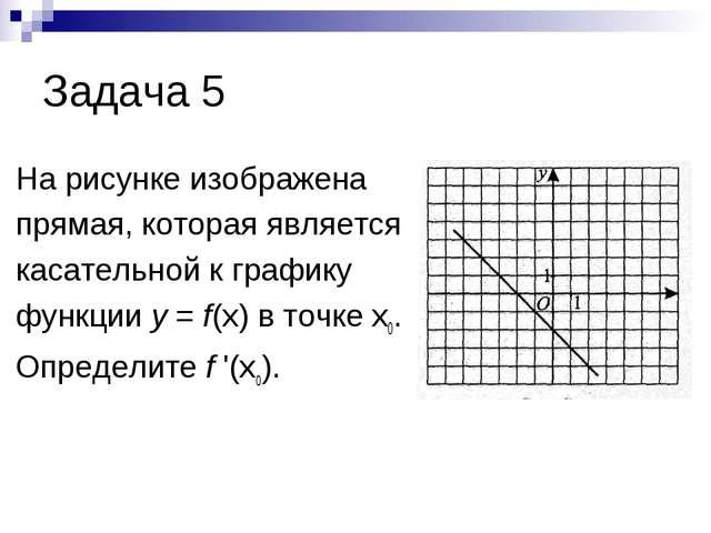 Задача 5 На рисунке изображена прямая, которая является касательной к графику...