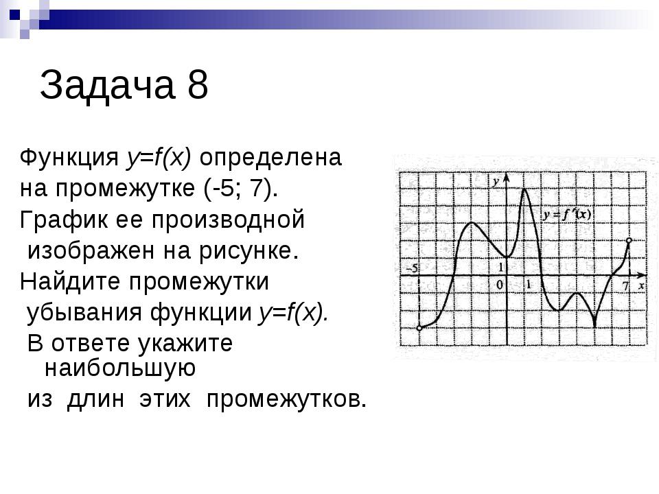 Задача 8 Функция y=f(x) определена на промежутке (-5; 7). График ее производн...