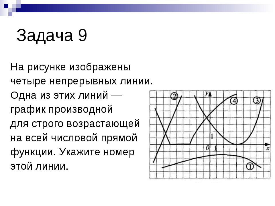 Задача 9 На рисунке изображены четыре непрерывных линии. Одна из этих линий —...